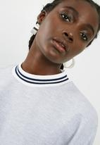 dailyfriday - Balloon sleeve top with rib cuff - grey