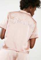 Missguided - Satin bride piped short pyjama set - pink