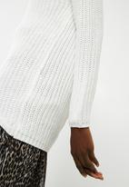 ONLY - Long sleeve highneck pullover knit - white
