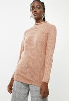 ONLY - Long sleeve highneck pullover knit - pink