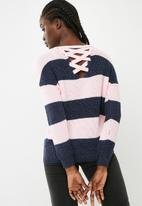 ONLY - Peyton lace up pullover knit - pink & blue