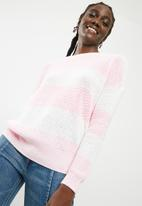 ONLY - Peyton lace up pullover knit - pink & white