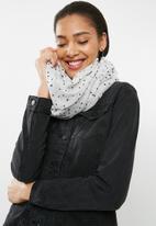ONLY - Rachel weaved flock tube scarf - black & white