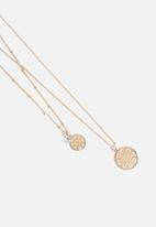 ONLY - Flira new mosaic two chain necklace - gold