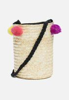 ONLY - Niffa straw round bag - multi
