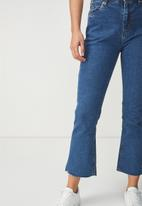 Cotton On - High rise kick flare crop stretch jean - blue