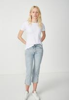 Cotton On - Mid rise straight crop stretch jeans - blue