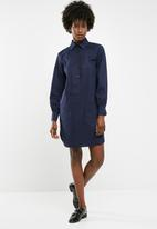 dailyfriday - Short poplin shirt dress - navy