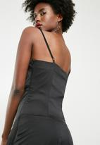 dailyfriday - Maxi lace up slip dress - black