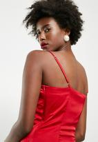 dailyfriday - Maxi lace up slip dress - red