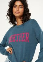 Cotton On - Tex text knit pullover - blue