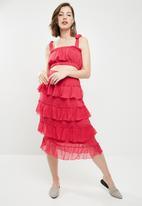 Vero Moda - Emma frill midi skirt - pink
