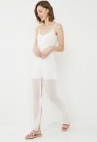 Missguided - Dobby button down maxi dress - white