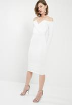 Missguided - Fold over bardot midi dress - white