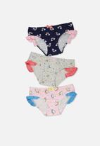 Cotton On - Kids girls ruffle undie pack - multi