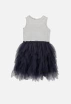 Cotton On - Kids iris tulle dress - grey & black