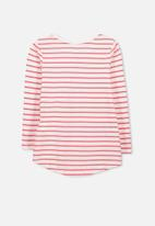 Cotton On - Kids Penelope long sleeve curved hem - red & white
