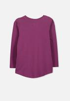 Cotton On - Kids Penelope long sleeve curved hem -purple