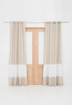 Sixth Floor - Two tone eyelet curtain - natural & white