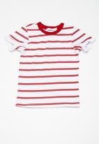 dailyfriday - Kids girls frill sleeve tee - red & white