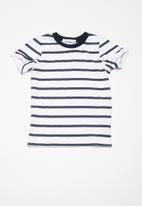 dailyfriday - Kids girls frill sleeve tee - blue & white