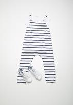 dailyfriday - Dungaree stripe set - blue & white