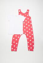 dailyfriday - Dungaree spot set - coral & white