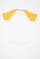 basicthread - Kids boys printed raglan tee - white & yellow
