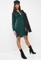 dailyfriday - Double layer shirt dress - green
