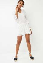 Noisy May - Vanja 3/4 playsuit - white