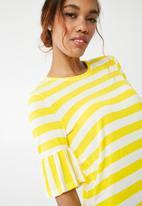 Noisy May - Heather short sleeve  frill top - yellow & white