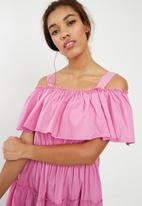 Vero Moda - Loka cold shoulder midi dress - purple