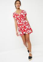 ONLY - Daniella short sleeve wrap dress - multi