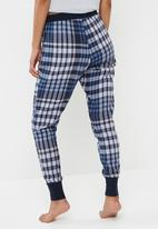 Cotton On - Cuffed flannel pant - blue