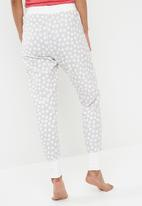 Cotton On - Cuffed flannel pant - grey & white