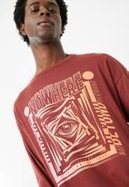 basicthread - Printed oversized long sleeve tee - red