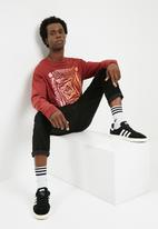 basicthread - Printed oversized long sleeve tee - red