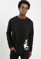 basicthread - Printed oversized long sleeve tee - black