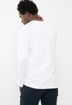 basicthread - Printed oversized long sleeve tee - white