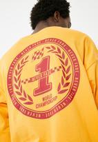 basicthread - Printed oversized long sleeve tee - yellow
