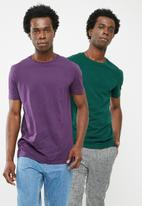 Superbalist - Crew neck 2 pack tees - green & purple