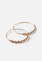 Rubi - Beaded hoop earring - gold