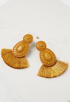Cotton On - Baboshka fan tassel statement earring - yellow