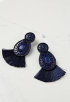 Cotton On - Baboshka fan tassel statement earring - navy