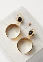 Cotton On - Moon stud statement earring - gold & black