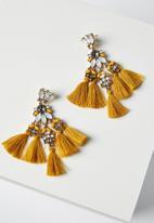 Cotton On - Aubrey jewel tassel statement earring - yellow & white