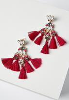 Cotton On - Aubrey jewel tassel statement earring - multi