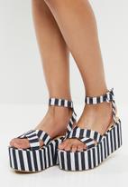 Superbalist - Stripe flatform sandal - navy & white