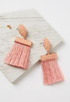 Cotton On - Beaded curtain earring - pink & rose gold