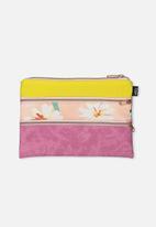Typo - Double archer pencil case - raspberry yellow daisy